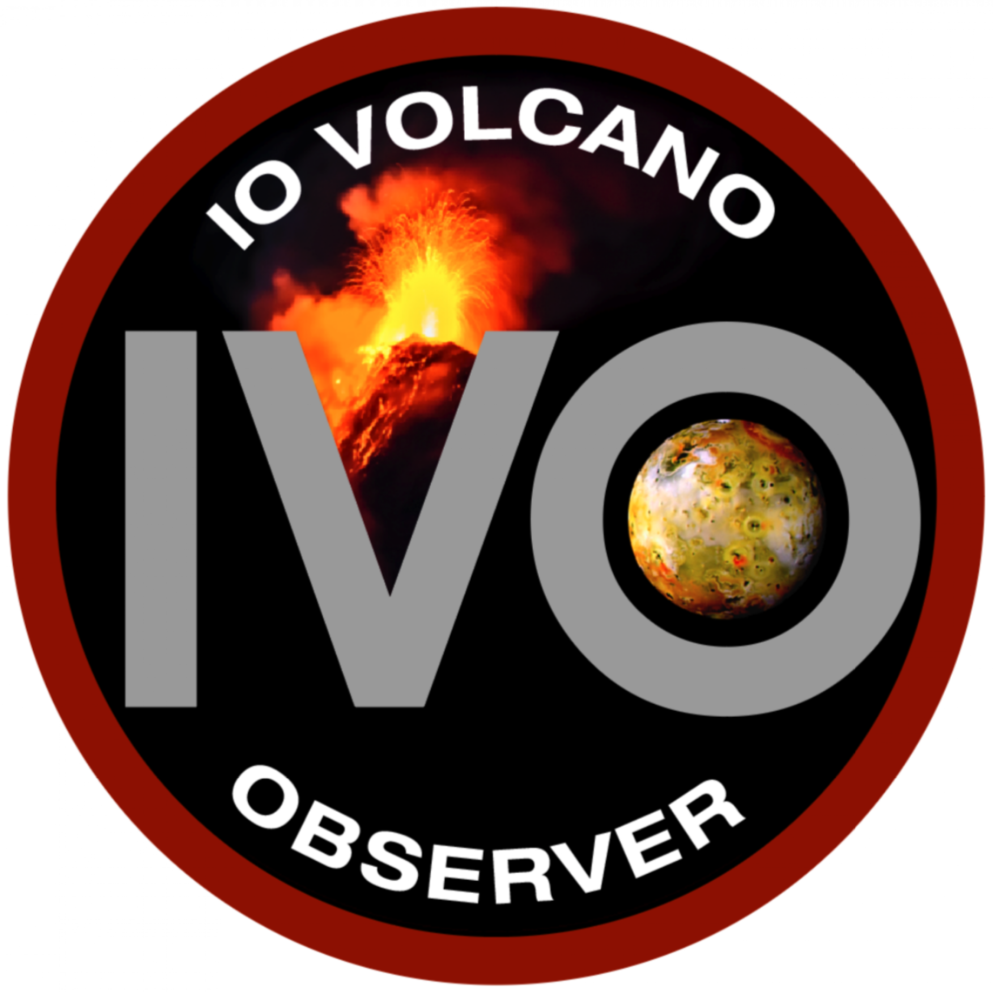 The Io Volcano Observer, or IVO, logo.