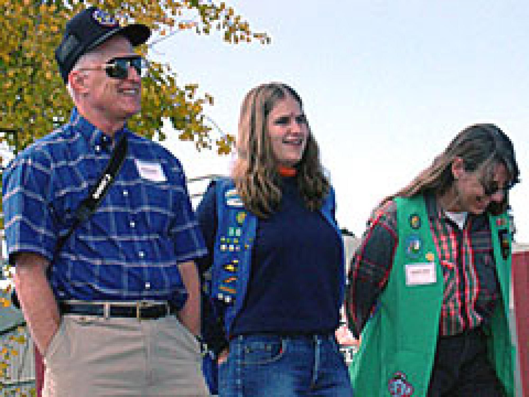 UA astronomer Donald McCarthy, Susan Hollis and Carolyn Hollis of the Girl Scouts of America during the John Jamieson Telescope dedication.