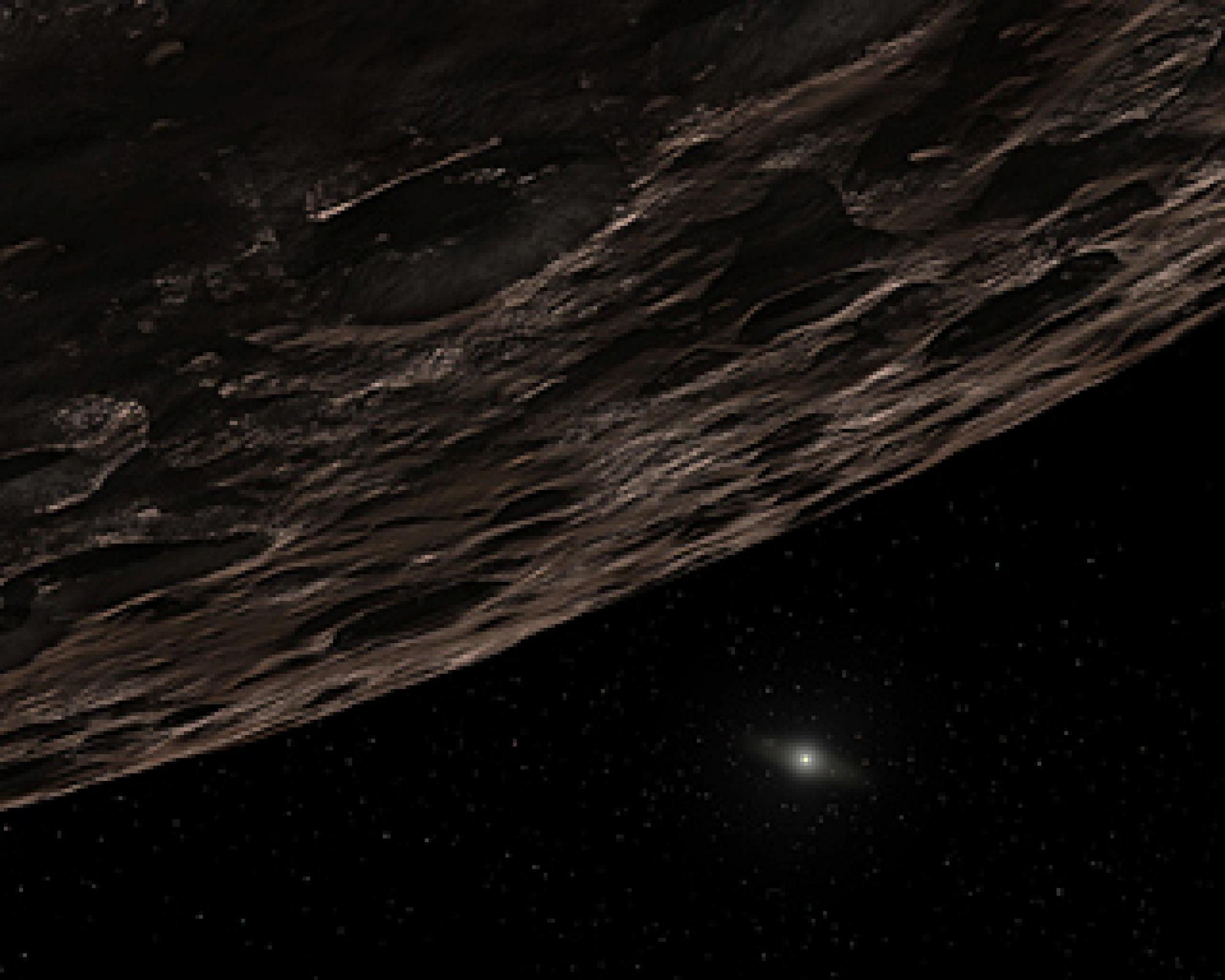 Our distant sun twinkles in this artist's conception of a distant Kuiper Belt Object.