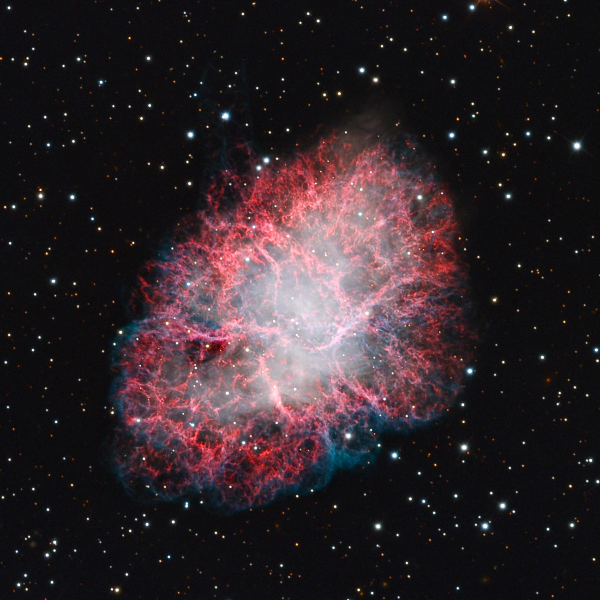 Located about 6,500 light-years from Earth in the constellation Taurus, the Crab Nebula is still expanding at a rate of more than 600 miles per second.