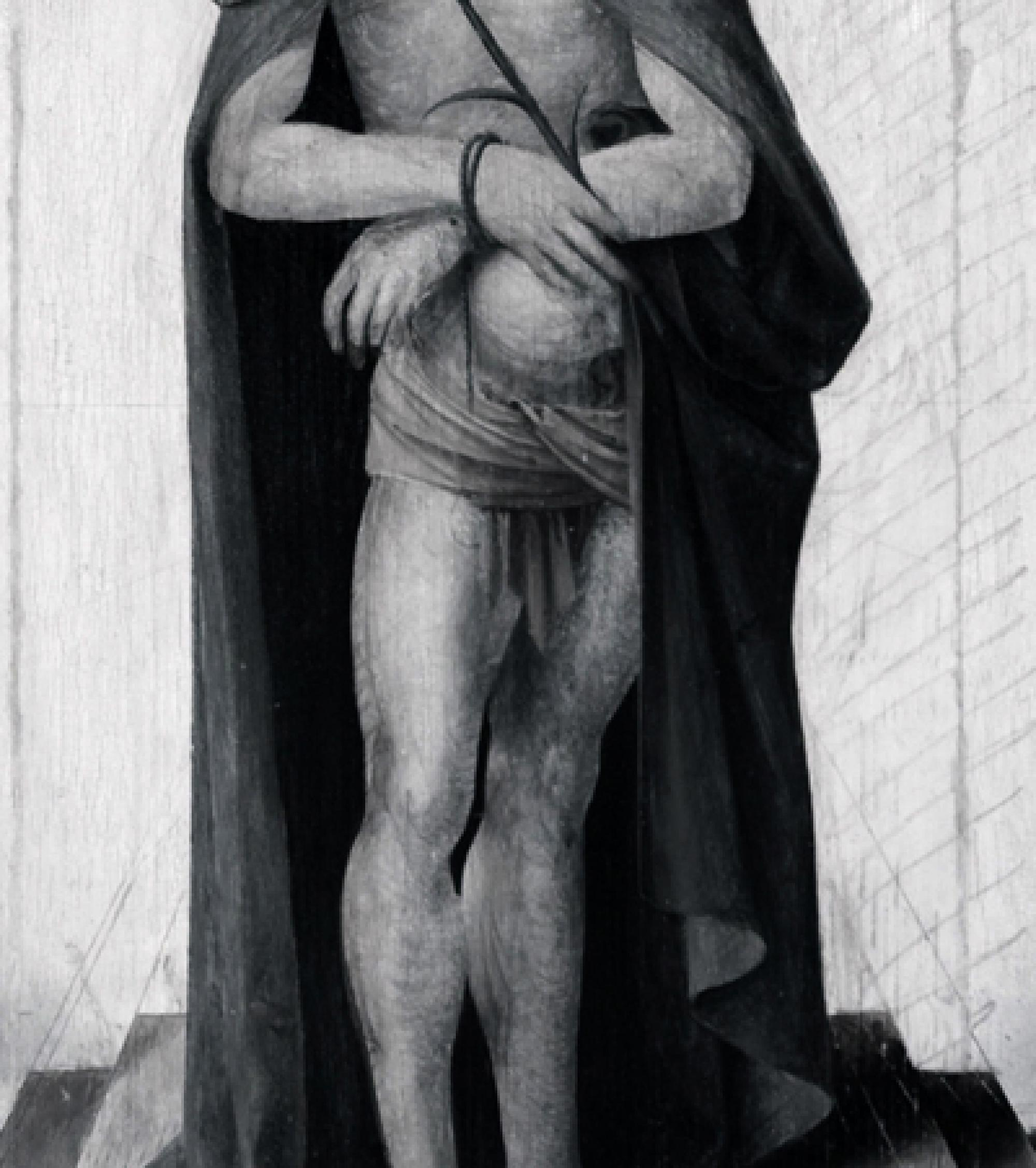 """The lines in this underdrawing show up in a detail of a Renaissance painting titled """"Man of Sorrows with Saints and Donors."""" The lines apparent in the infrared converge to a well-defined vanishing point, showing that this particular artist understood the"""