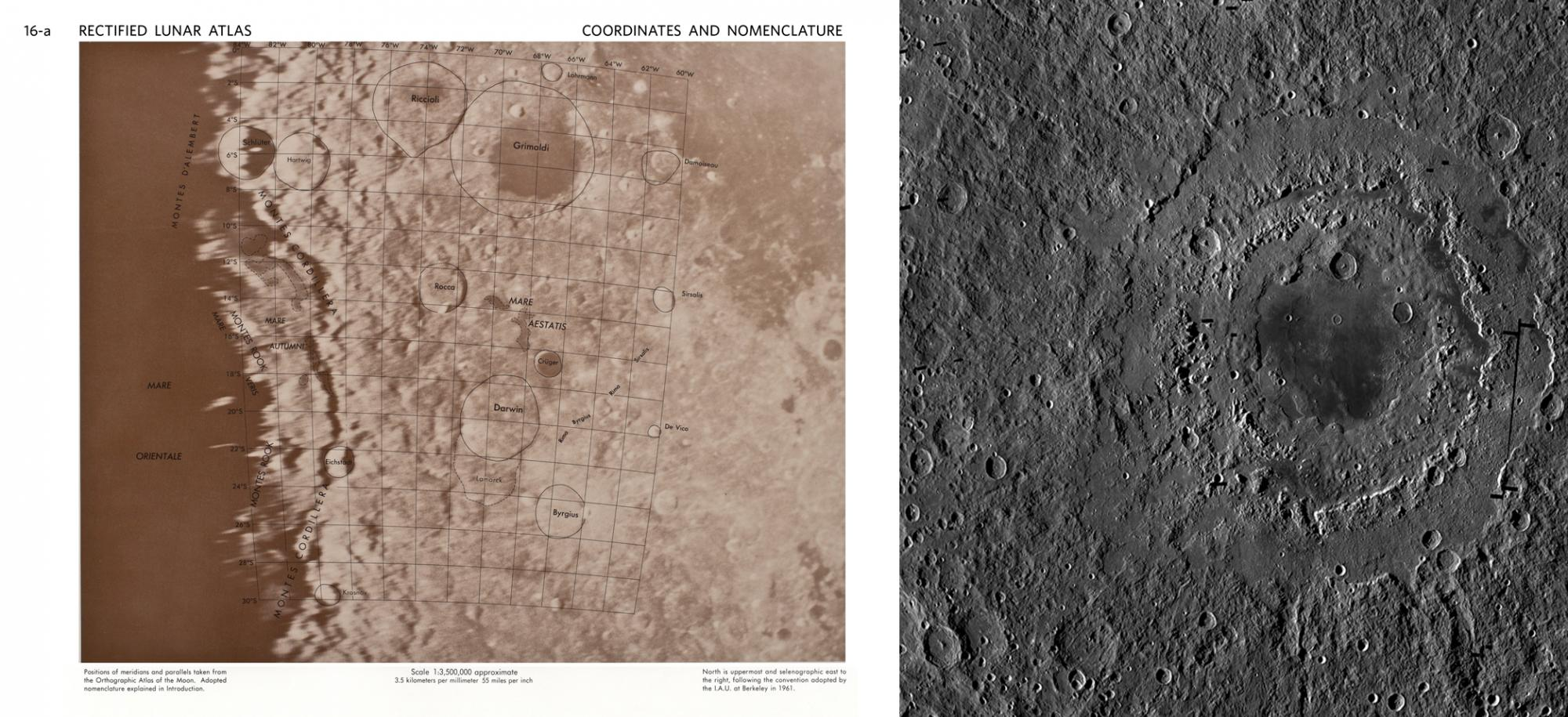 Left: A page from the Rectified Lunar Atlas, showing the edge of the Mare Orientale impact crater, discovered by William Hartmann during his time as a graduate student at the University of Arizona.  Right: The Orientale basin, as imaged by the Lunar Recon