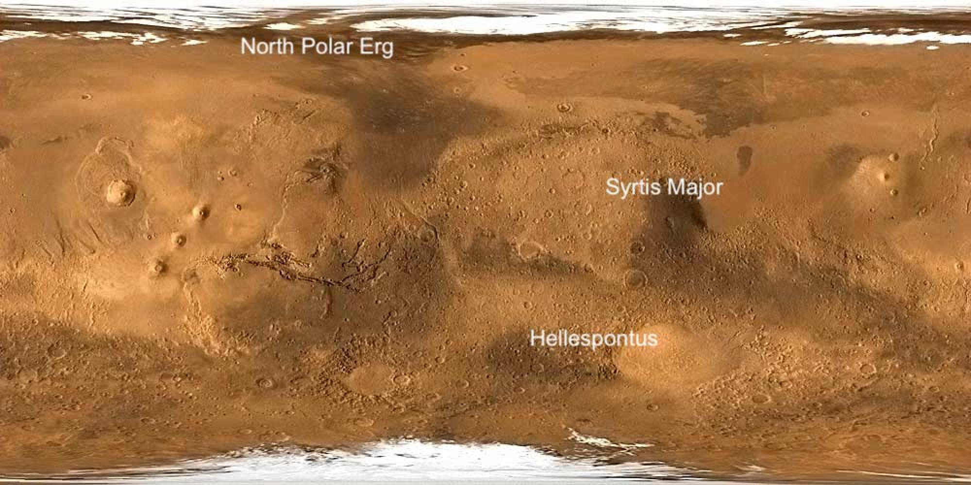 In the study, the regions with the largest rates of dune movement were found to be at the boundary of Isidis Basin and Syrtis Major, the Hellespontus mountain range and surrounding the North polar ice cap.