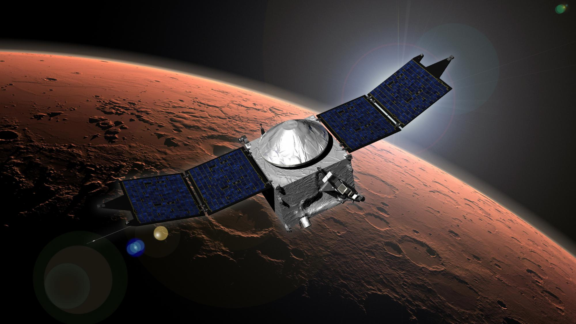 Artist concept of NASA's Mars Atmosphere and Volatile Evolution  mission orbiting Mars
