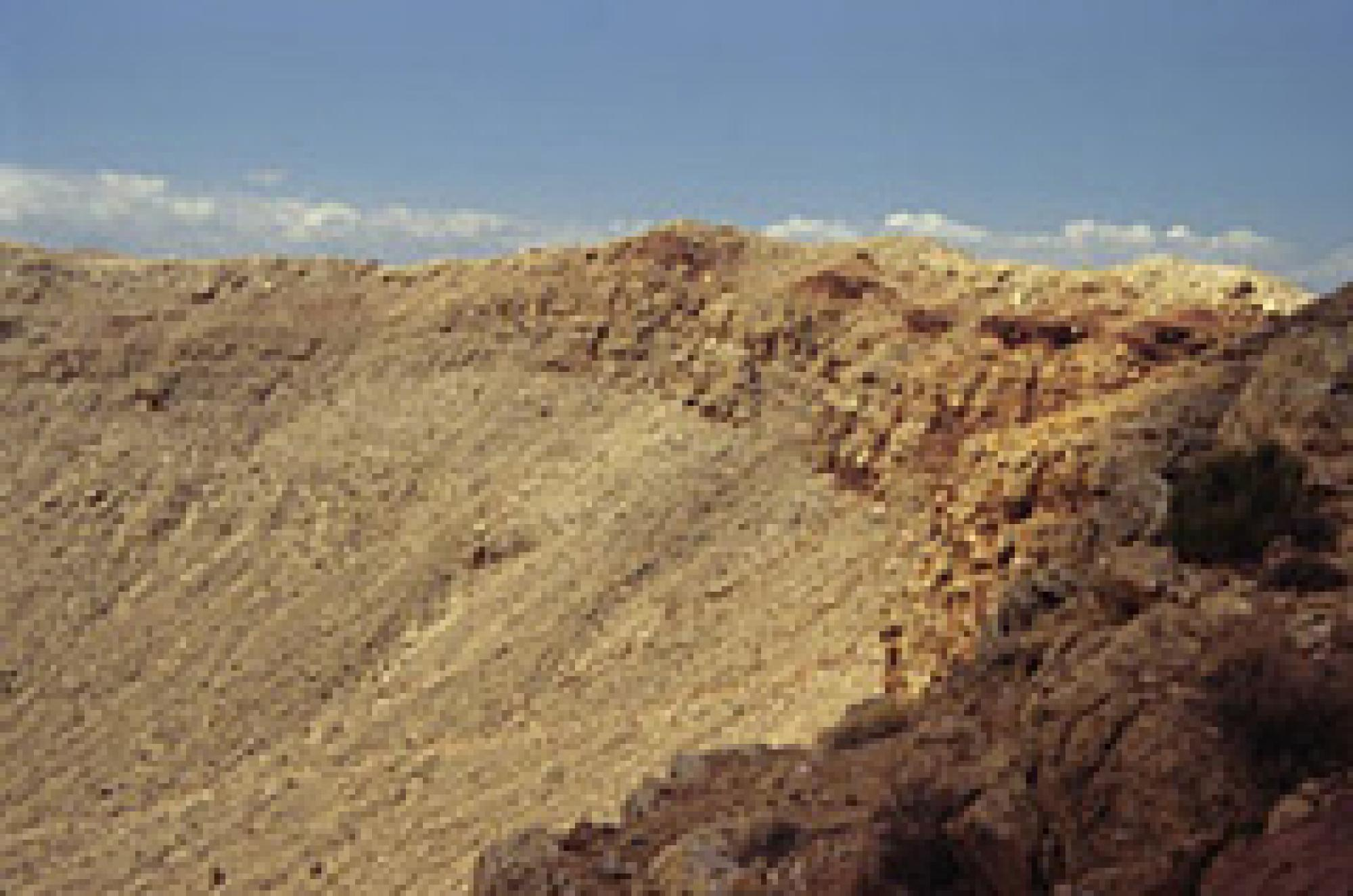 Meteor Crater, also called Barringer Meteorite Crater. This view is from the west rim.