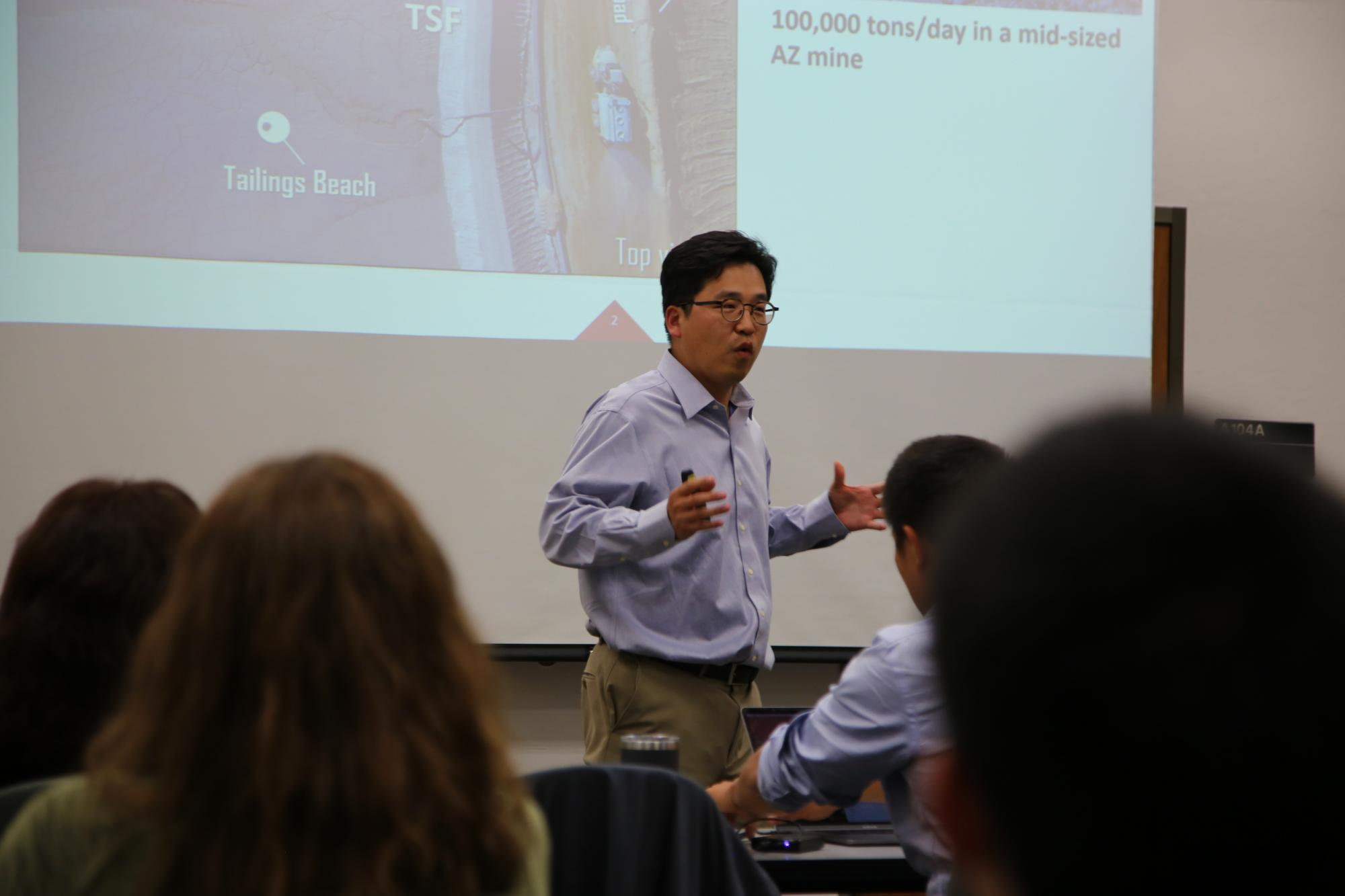 Minkyu Kim, inventor of the new biocompatible polymer blend, gives his pitch during the TLA I-Corps program.