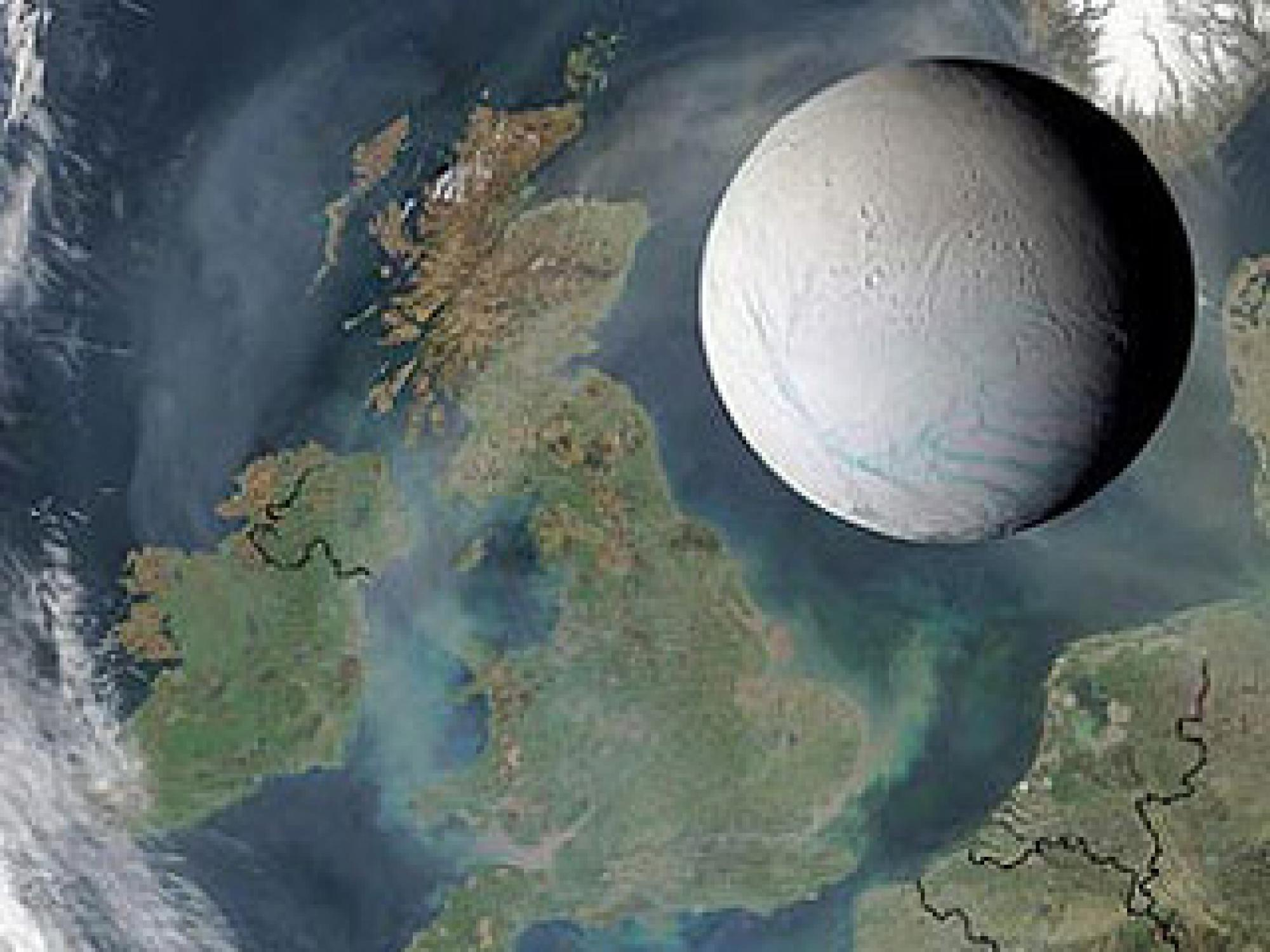UA's Bob Brown and other Cassini scientists presented new findings about the age of surface features on Saturn's moon Enceladus in a news briefing in London today. The image above shows the moon is small enough to fit within the length of the U