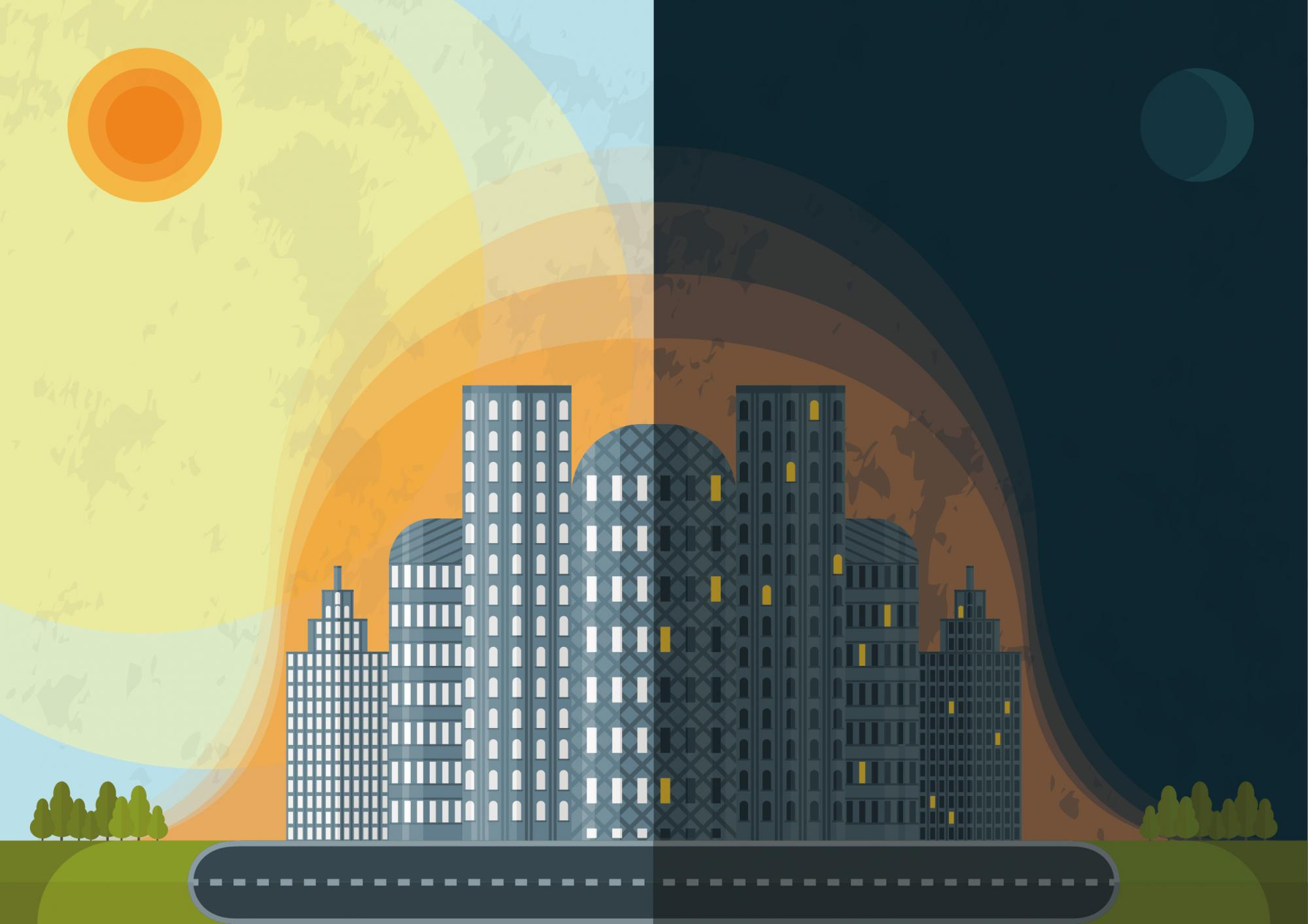 Buildings retain heat, and at night they give off the heat they stored during the day to the surrounding air, keeping temperatures high overnight. This is called the urban heat island effect, and it's something desert cities battle as their populations gr