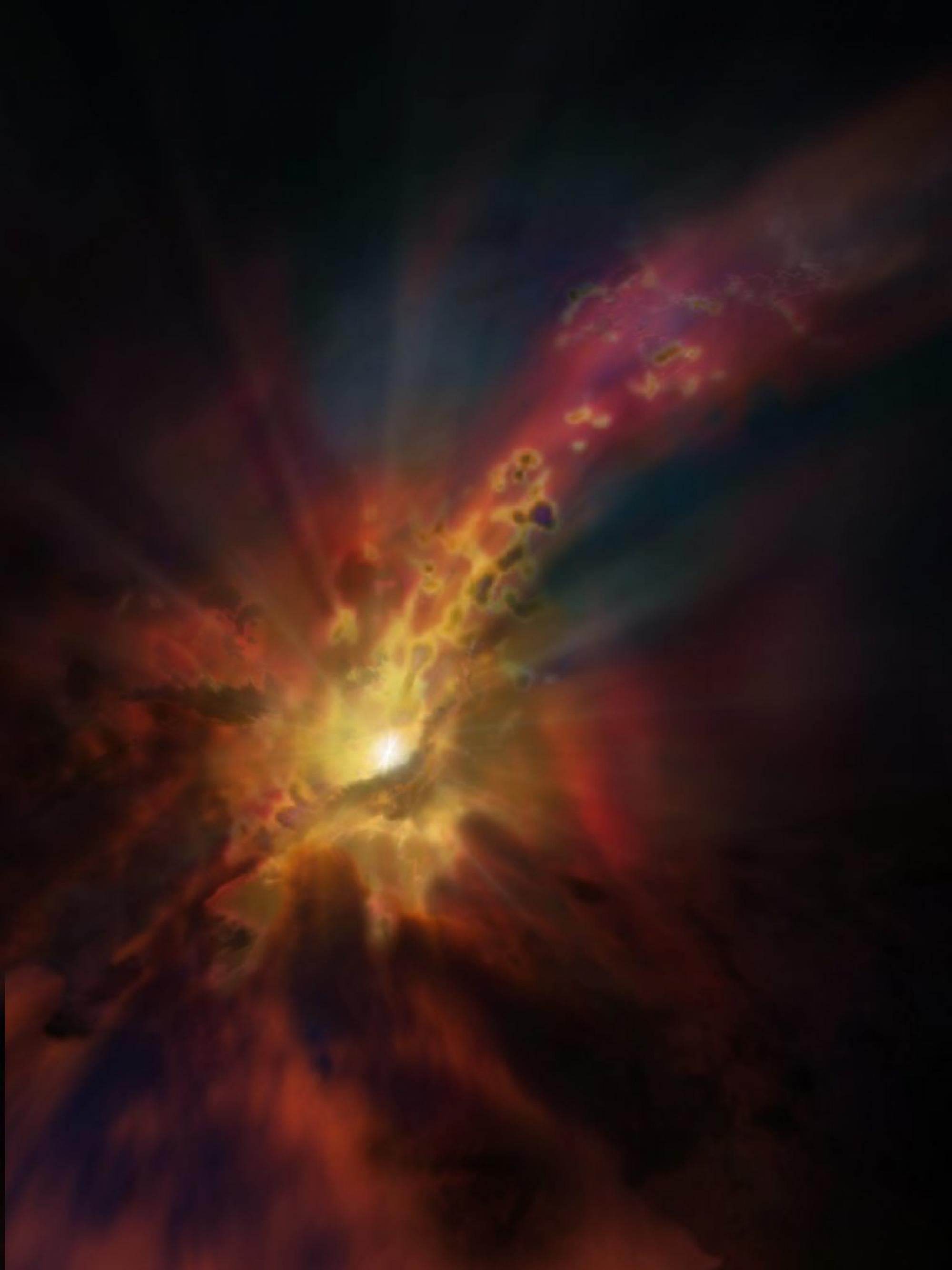 Artist impression of an outflow of molecular gas from an active star-forming galaxy.