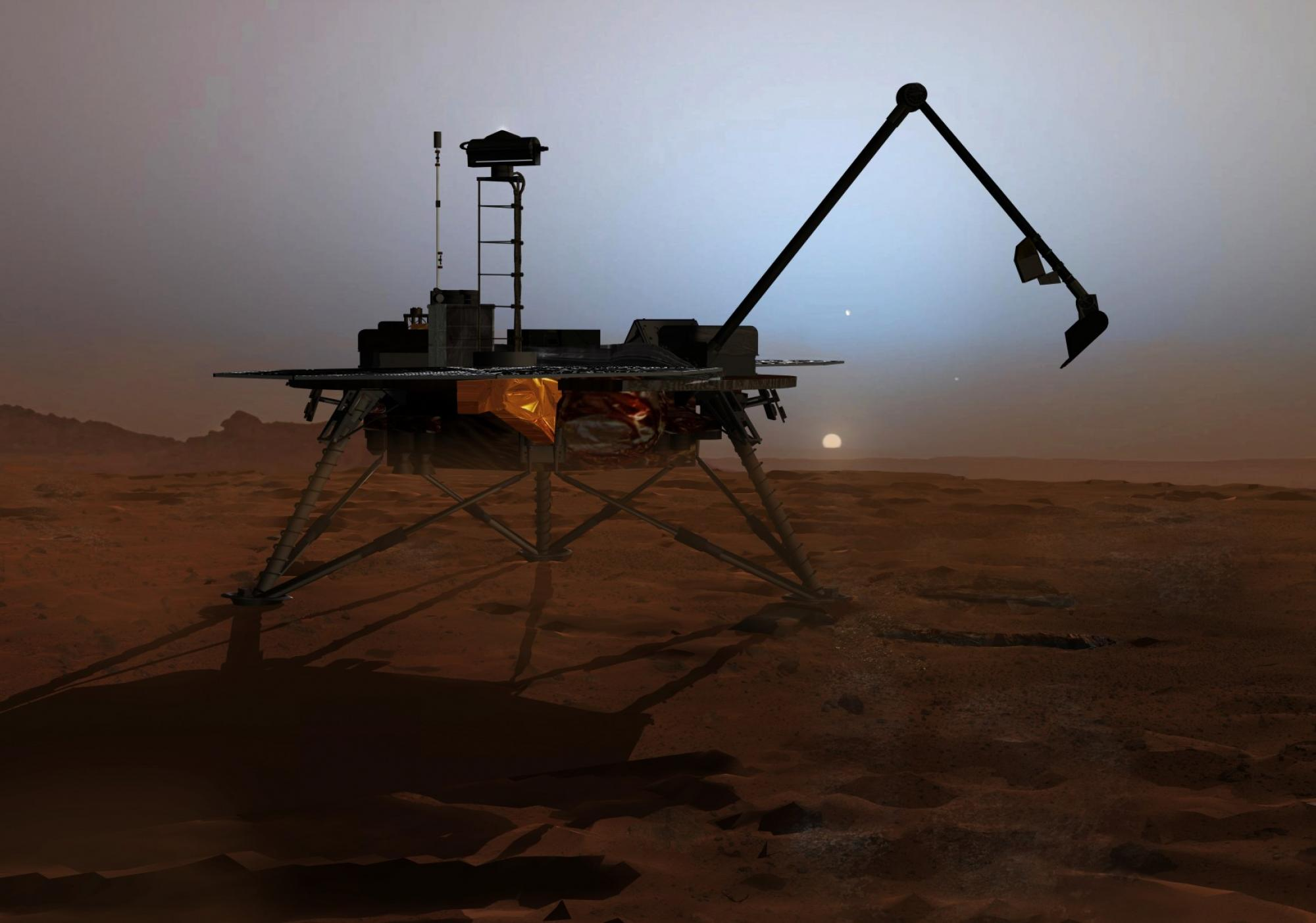 This artist's rendition shows the Phoenix Lander as it begins to shut down operations as winter sets in. No sun shines on Mars' far northern latitudes during winter. This marks the end of the mission because the solar panels can no longer charge the lande