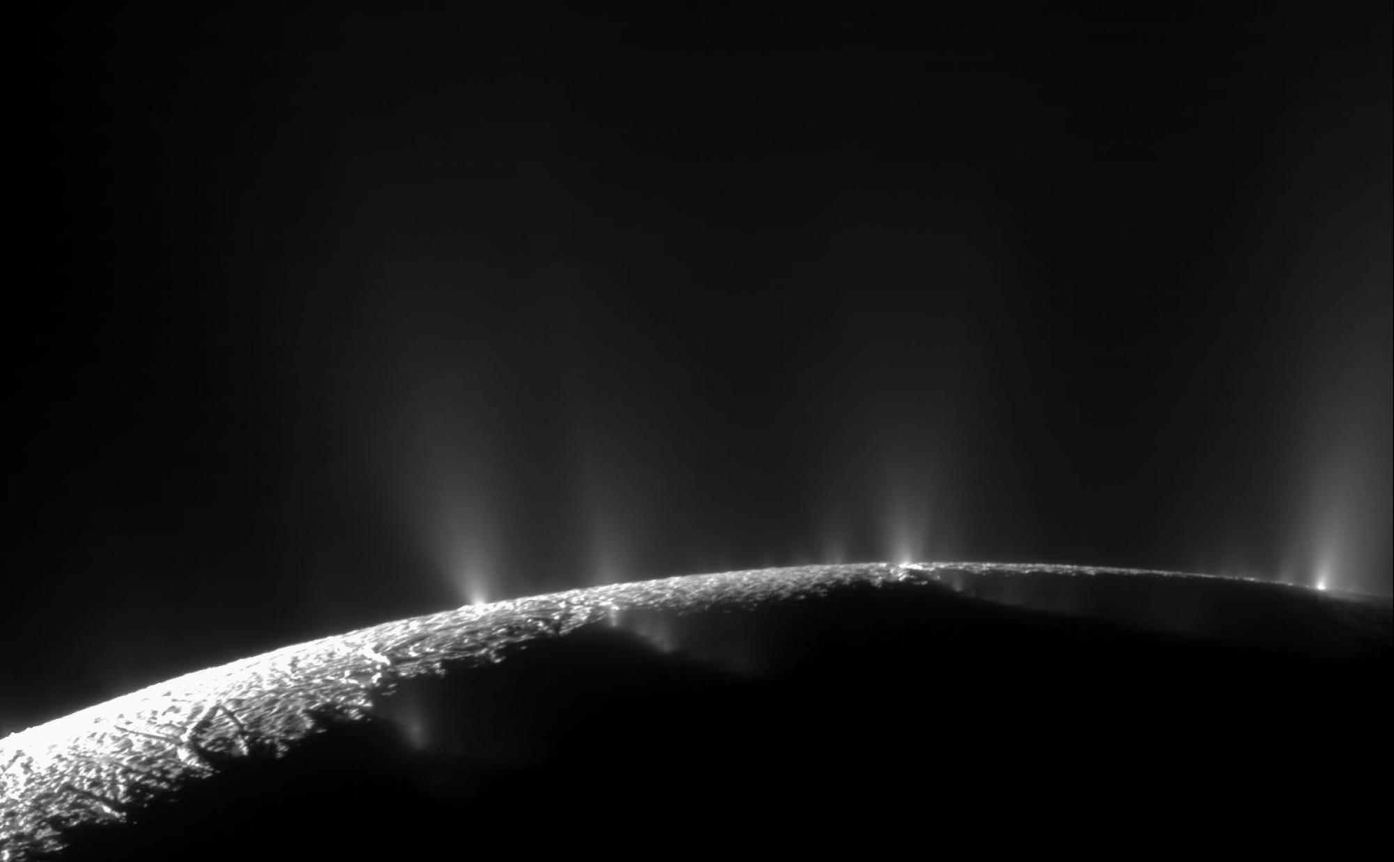 NASA Cassini spacecraft captured dramatic plumes, both large and small, spraying water ice out from many locations along the famed tiger stripes near the south pole of Saturn moon Enceladus.