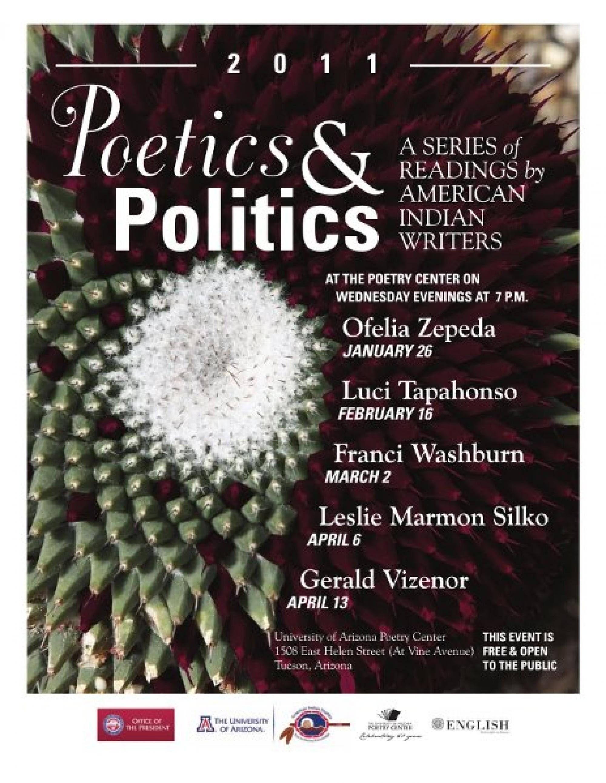 "The ""Poetics and Politics"" series begins Wednesday, Jan. 26 with other readings scheduled to be held in February, March and April."
