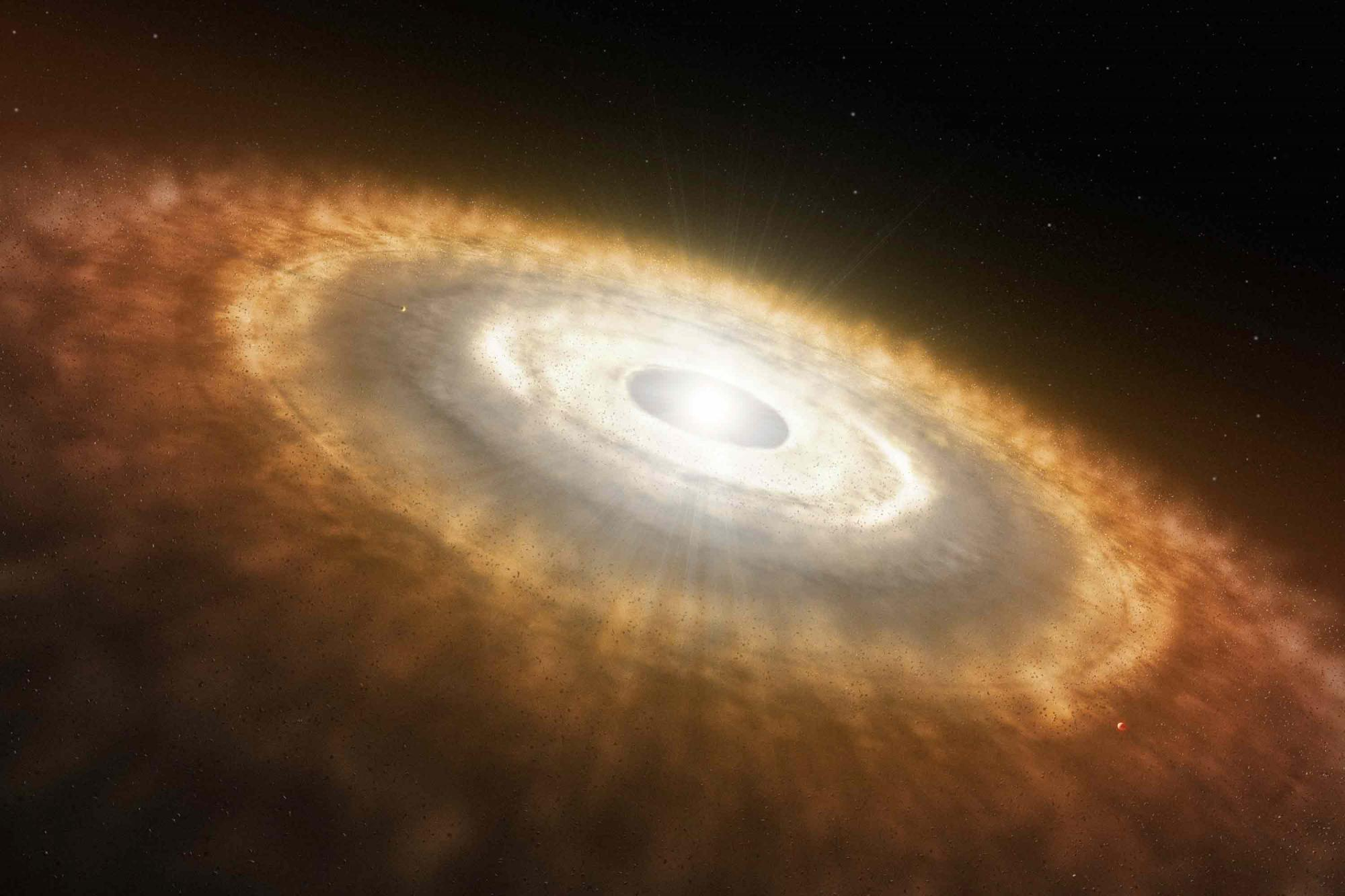 "Like a raindrop forming in a cloud, a star forms in a diffuse gas cloud in deep space. As the star grows, its gravitational pull draws in dust and gas from the surrounding molecular cloud to form a swirling disk called a ""protoplanetary disk."" This disk e"