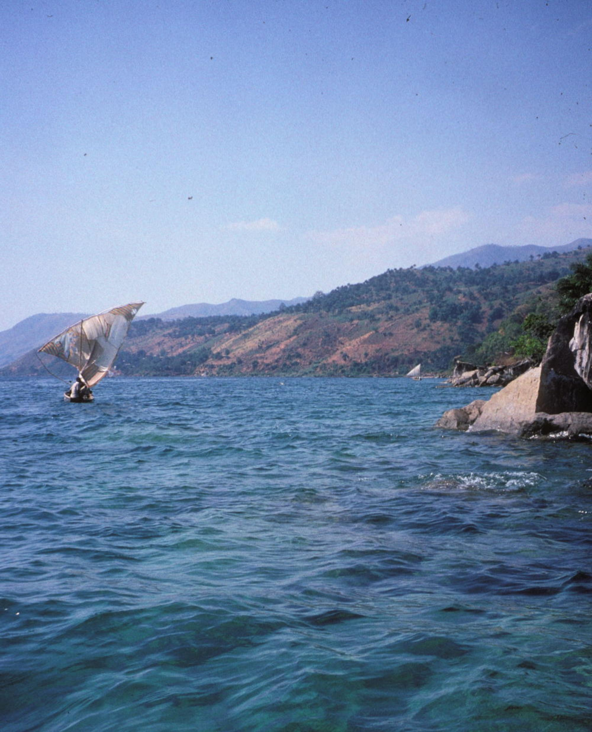 An artisanal fisher sails on Lake Tanganyika.