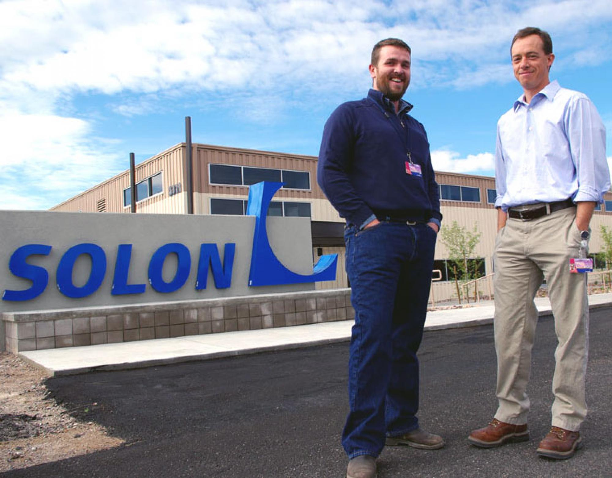Biosphere 2 sustainability coordinator Nathan Allen , left, and SOLON Corp. research and development director William Richardson, pictured here at SOLON's U.S. branch in Tucson.