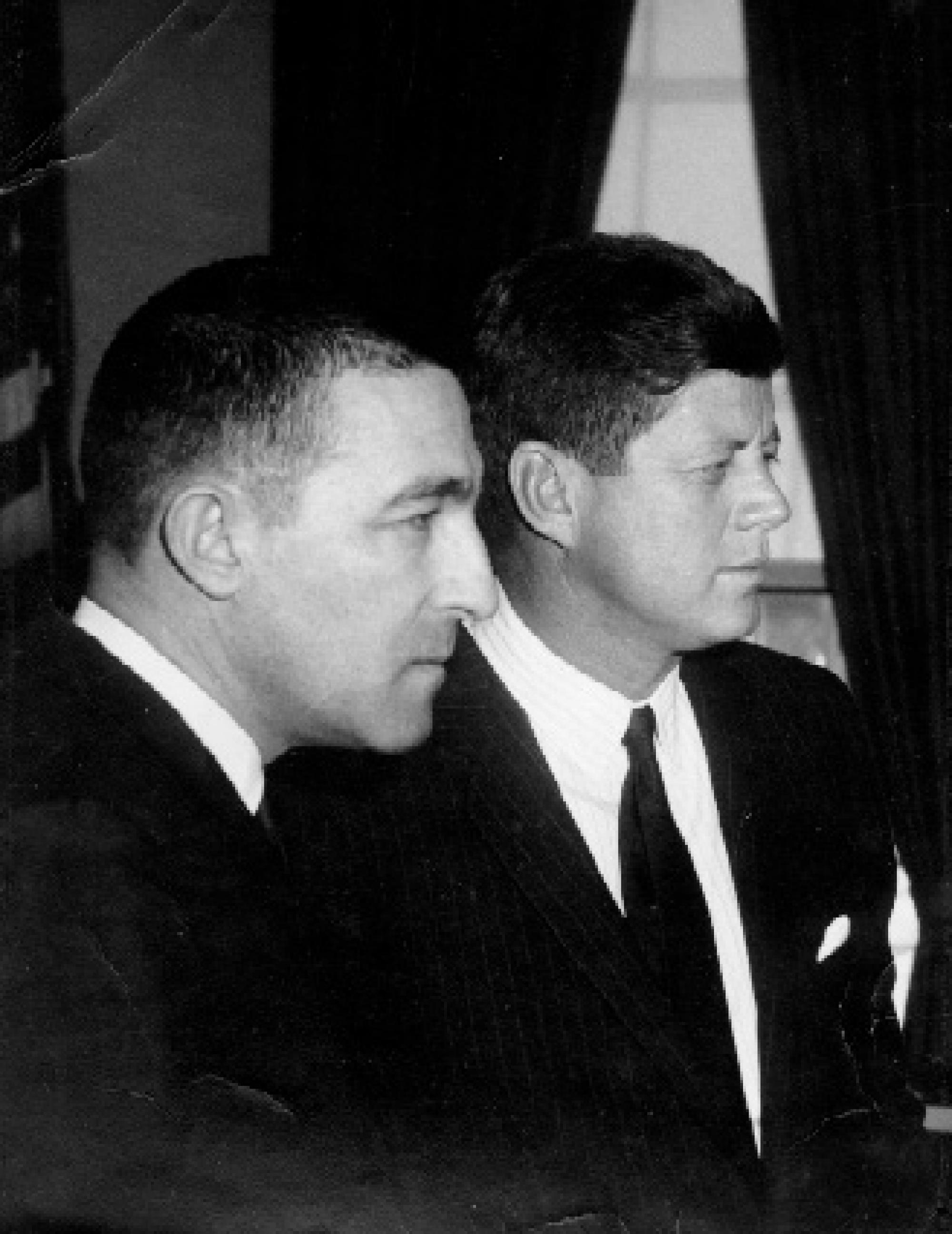 In 1961, then-U.S. Secretary of the Interior Stewart L. Udall with U.S. President John F. Kennedy. Udall has spent his life as an lawyer, author, scholar and environmental activist. He was the last surviving member of President Kennedy's original cabinet.