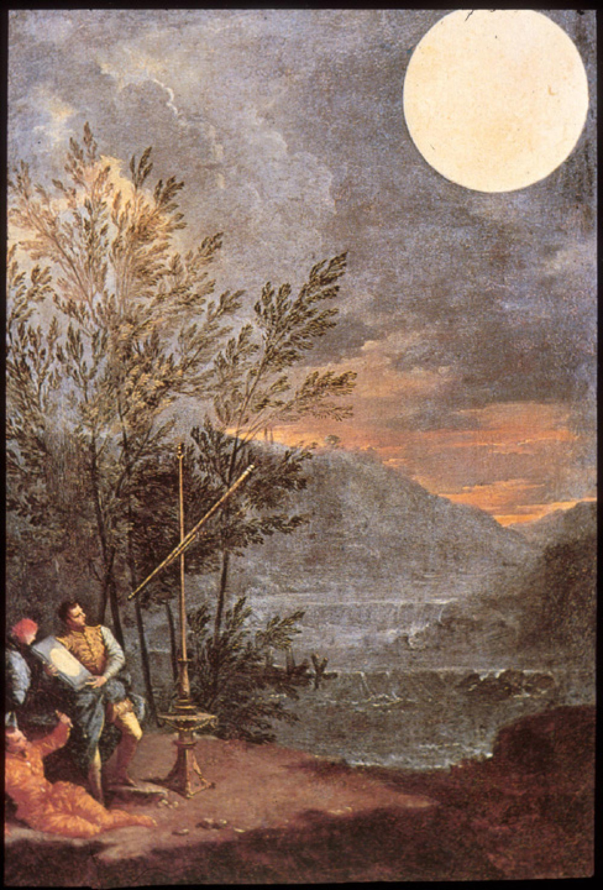 CLICK TO ENLARGE IMAGE. Italian Baroque era painter Donato Creti  painted this scene of people viewing the moon with a Galilean telescope.