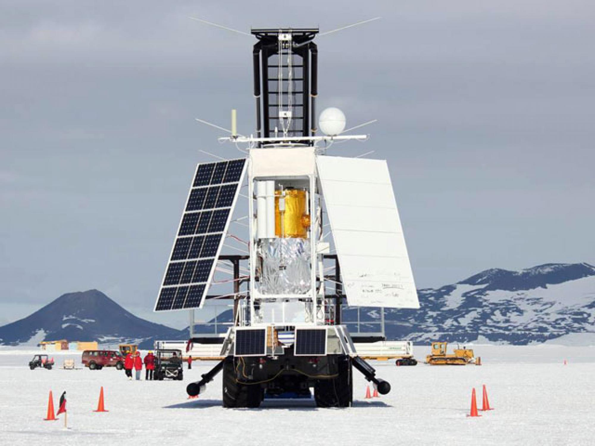 STO's gondola carrying the telescope and other scientific instruments