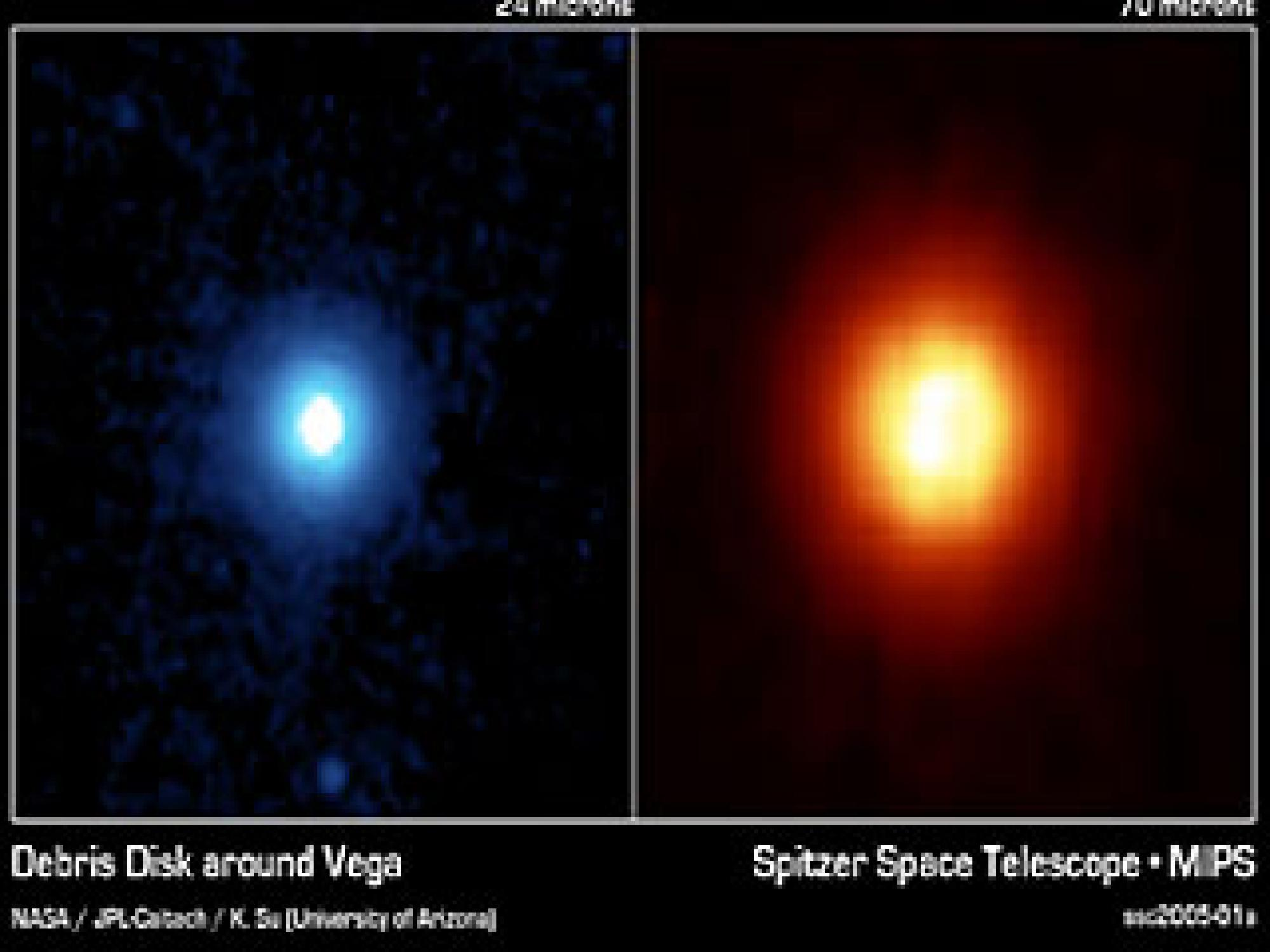 NASA's Spitzer Space Telescope captured these images of the star Vega, 25 light years away in the constellation Lycra. Spitzer detected the heat radiation from dust cloud around the star and found that the debris disc is much larger than previously t