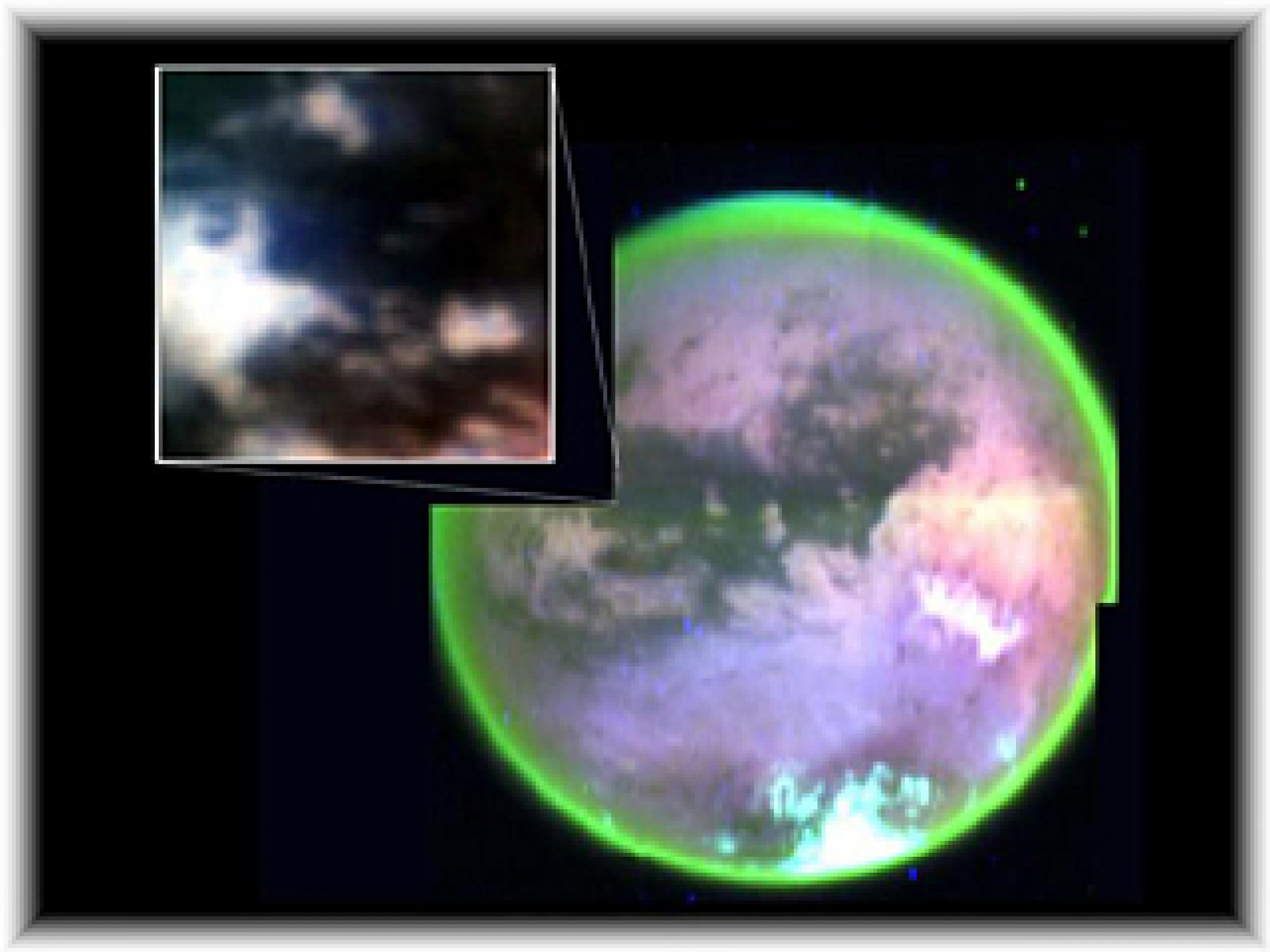 Titan's Complex Surface -This image taken by Cassini's visual and infrared mapping spectrometer clearly shows surface features on Titan. It is a composite of false-color images taken at three infrared wavelengths as Cassini flew by Titan at alti