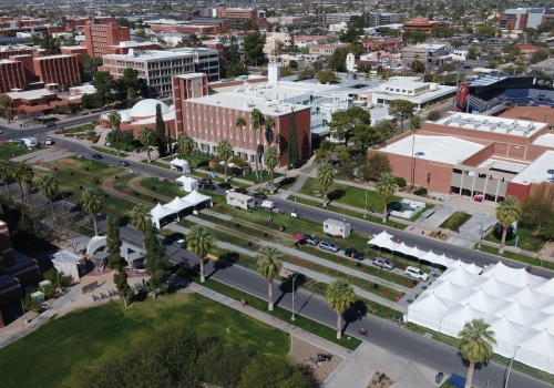 Aerial view of the University of Arizona's drive-thru vaccination site