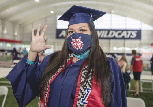 student at a graduation ceremony