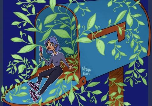 """Girl Sitting in a Mailbox"" by Nitya Kari"