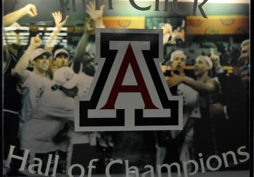 While current and former UA student-athletes preparing for the summer Olympics and Paralympic Games, the Jim Click Hall of Champion documents the accomplishments of some of their Wildcat predecessors. The mezzanine, located on the north end of the McKale