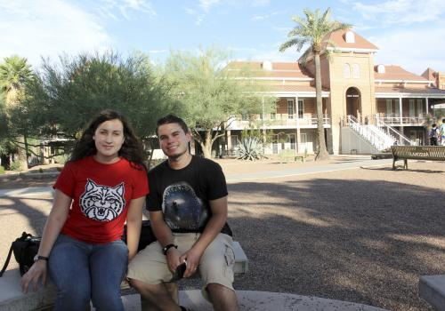 """Sept. 4, 5:08 p.m.: Shayla Nardi , a pre-business sophomore, says, """"With the renovations, it looks a lot better."""" She was on a visit with her husband, James Nardi, a chemical engineering junior. """"It is visually appealing and has a really crisp look."""""""