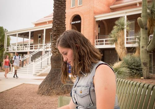 """Sept. 3, 3 p.m.: Hattie Rose Groskind, a UA freshman who has not yet declared a major, expects to graduate in 2018. """"I remember it being under renovation last year. This has been a relaxing place to get work done and I also wanted to see Old Main's improv"""