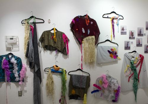 The young children produced their own fiber work.