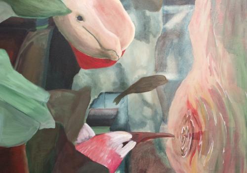 """Escape,"" acrylic on canvas by Honors College student Lauren Scheller, a studio art and theatre arts graduate."
