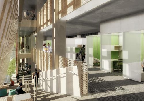 An artistic rendering of the interior of the Health Sciences Innovation Building.