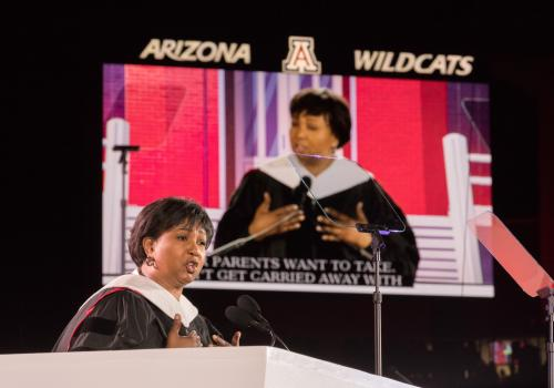 "Dr. Mae C. Jemison encouraged students to ""live deeply and look up."""