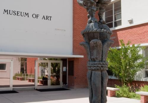 """The bronze """"Lesson of a Disaster"""" by internationally known Cubist sculptor Jacques Lipchitz is in the UA Museum of Art courtyard."""