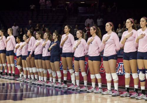 The Arizona volleyball team showed its support by wearing pink uniforms during Breast Cancer Awareness Month in October.