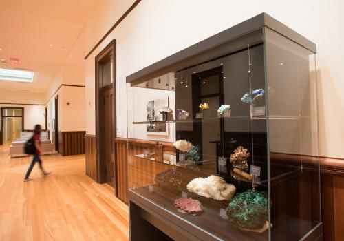 The UA Mineral Museum has provided specimines now on display at Old Main.