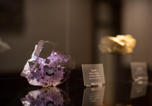 Minerals on display are from Southern Arizona and Mexico.