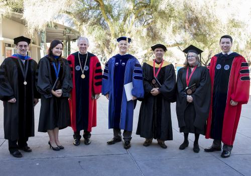 From left: Daniel McDonald, Melissa Fitch, President Robert C. Robbins, Provost Andrew Comrie, Hoshin Gupta, Alison Hawthorne Deming and student regent Vianney Careaga.
