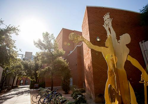 """""""Hamlet,"""" a silicon bronze sculpture by William Arms, is near the Marroney Theatre, where the Arizona Repertory Theater will present William Shakespeare's """"Twelfth Night"""" during its 2016-2017 season."""