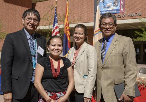 Navajo Nation Vice President Jonathon Nez, Karletta Chief, Paloma Beamer and Navajo Nation President Russell Begaye.