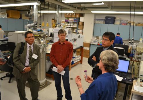 Members of the UA team and Navajo Nation tour the Arizona Laboratory for Emerging Contaminants.