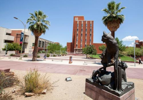"""""""The Wildcat Family,"""" featuring two adult wildcats and two cubs, was dedicated in 2004 to past UA President Peter Likins and his wife, Pat. The sculpture is at the Alumni Plaza."""
