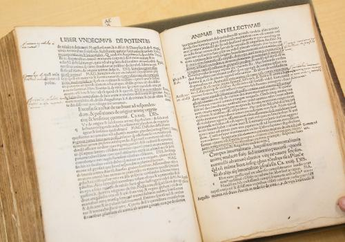 "Inside ""Margarita philosophica,"" the margin notes and underlining ""look so much like student notes of recent years, before highlighters,"" said Jane Prescott-Smith, special assistant to the dean with University Libraries."