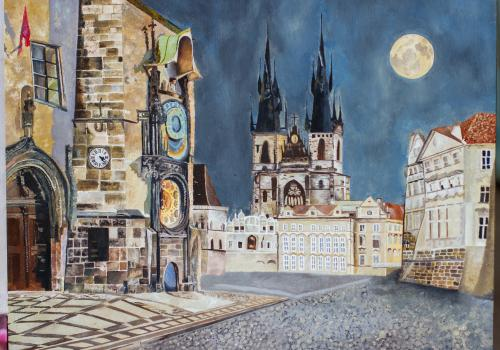 """""""Prague at Night"""" by Skye Challener, research technician in the Department of Psychiatry"""