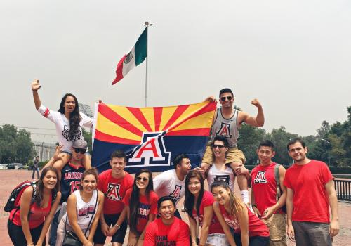 Tiffany Nguyen, a student in the College of Pharmacy, snaps a photo of Wildcat spirit in Mexico City. Several study abroad programs make their way through Mexico City, including those that enable students to improve their Spanish-language skills and learn