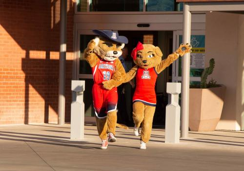 Wilbur and Wilma Wildcat greet guests at a Banner – UMC Tucson tower reception on April 11.