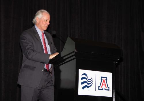 UA President Robert C. Robbins speaks at the new tower's grand opening reception on April 11.