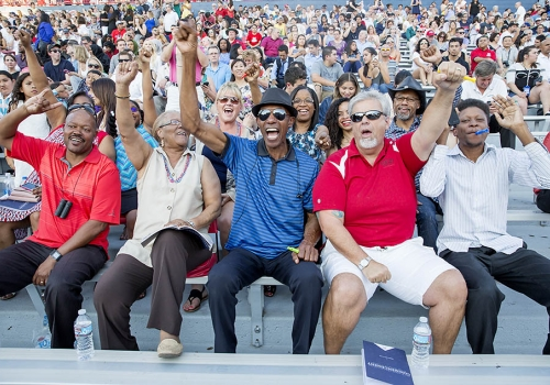 A cheering squad for graduate Kayla Patterson  included: Helen Hawkins , her grandmother from Louisiana; uncle J.J Jackson from California; and her parents, Glen Patterson  and Tanya Patterson  from California.