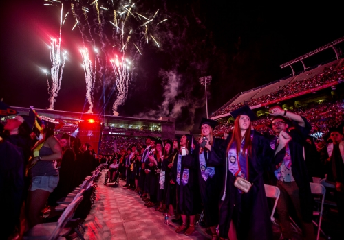 Fireworks were set off over Arizona Stadium and also from the roof of the Student Recreation Center, across Sixth Street from the ceremony.